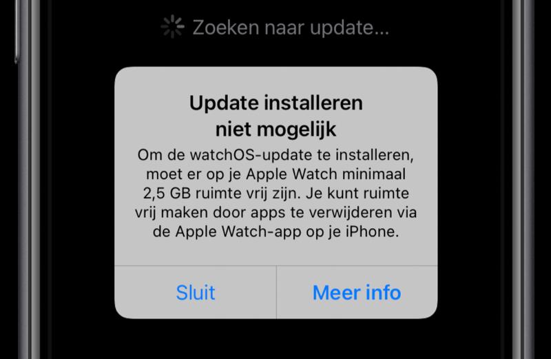 Update watchOS installeren niet mogelijk door te weinig opslag.