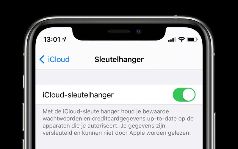 iCloud Sleutelhanger inschakelen op de iPhone.