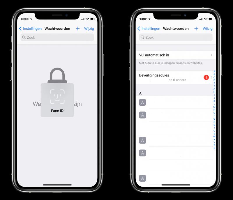 iCloud Sleutelhanger beveiliging en wachtwoorden bekijken.