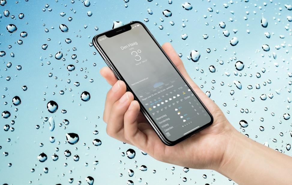 Weer-app in Nederland met regen grafiek.