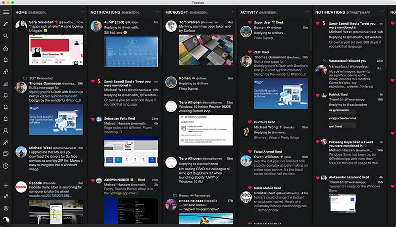 Tweeten interface