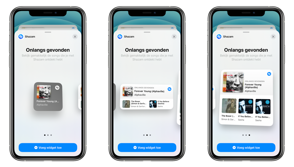Shazam widget in iOS 14.