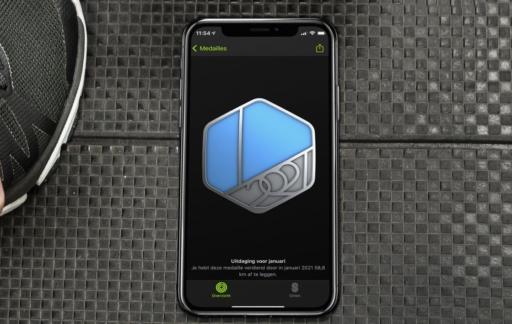 Apple Watch uitdaging en medaille.