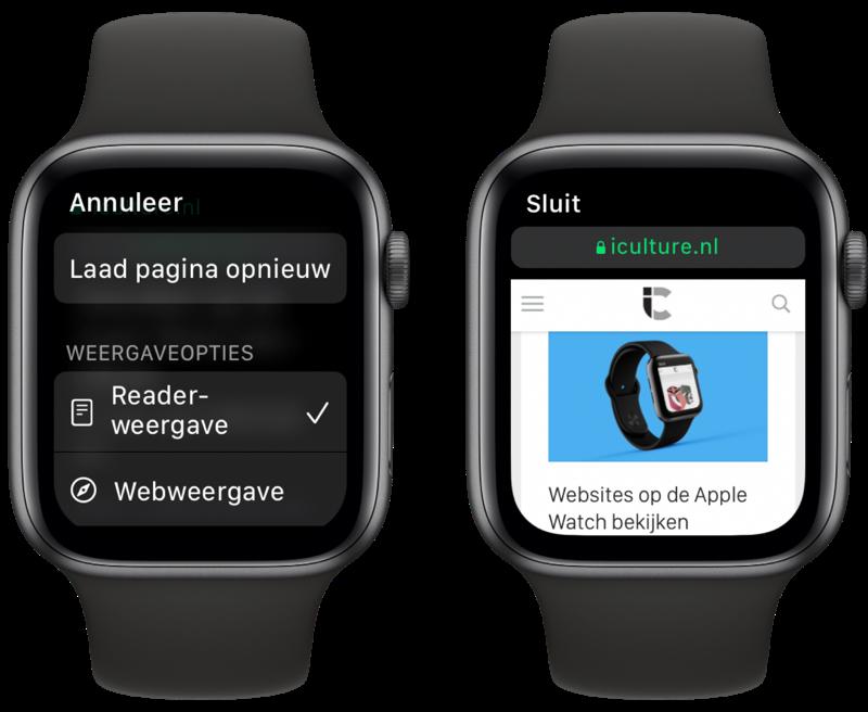 Instellingen voor websites en internetten op de Apple Watch.