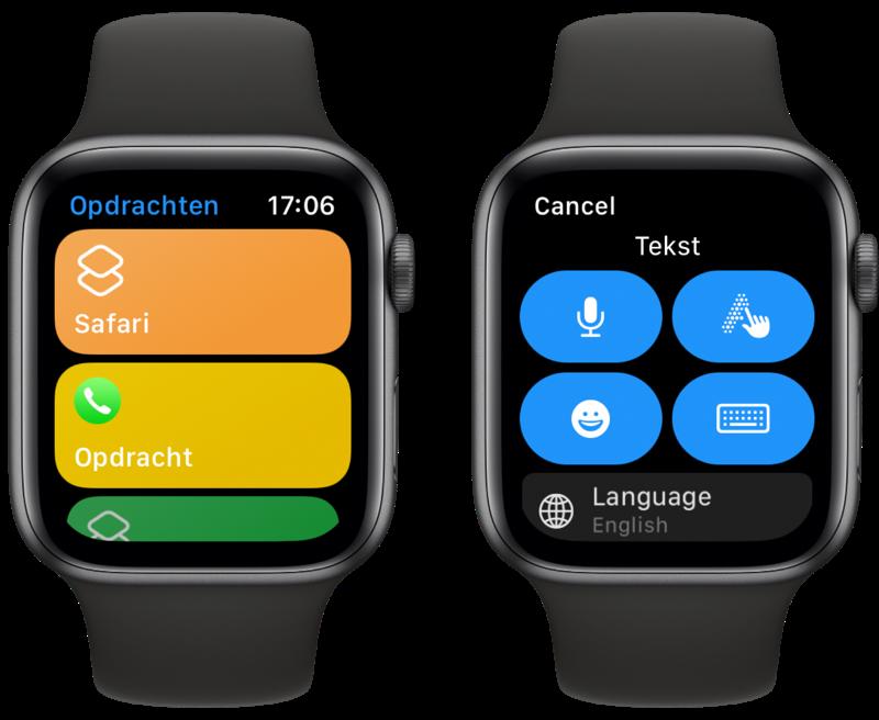 Opdrachten-app: Safari op Apple Watch.