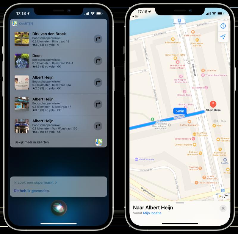 Navigeren met Siri