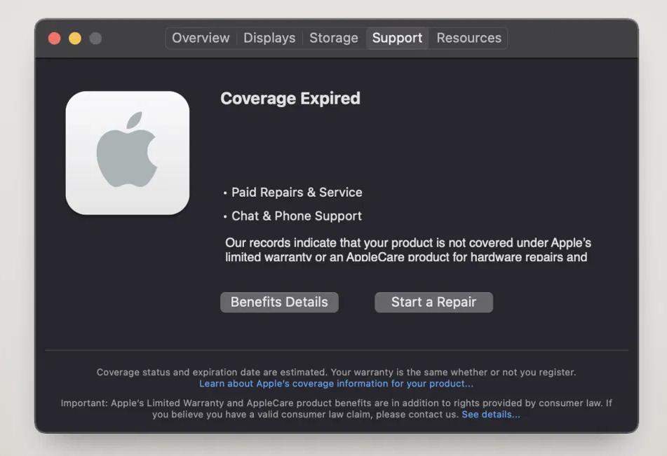 Support-menu in macOS Big Sur 11.3 code.