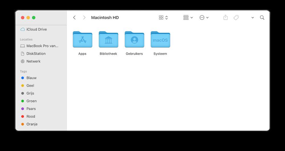 Finder macOS Big Sur met tags