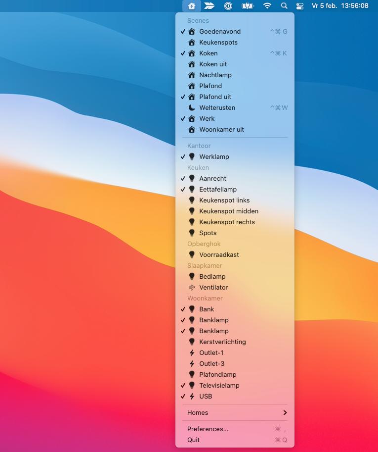 HomeControl Menu voor HomeKit op de Mac.
