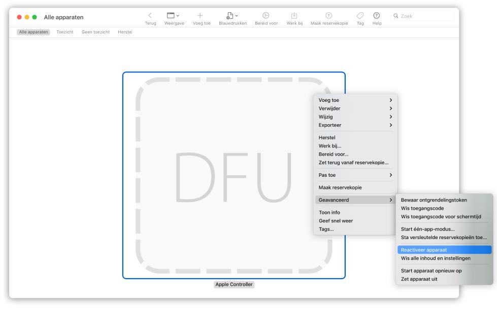 Mac herstellen met Configurator 2