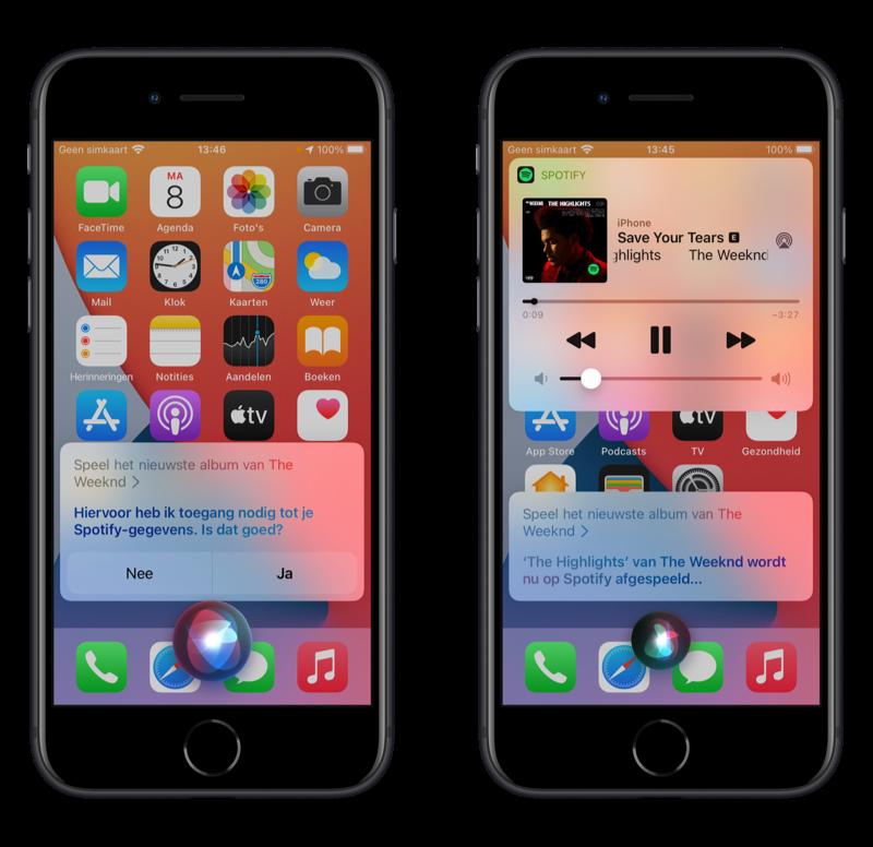 Muziekdienst via Siri in iOS 14.5: standaard via Spotify.