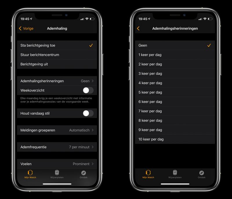 Instellingen voor Ademhaling-app op iPhone.