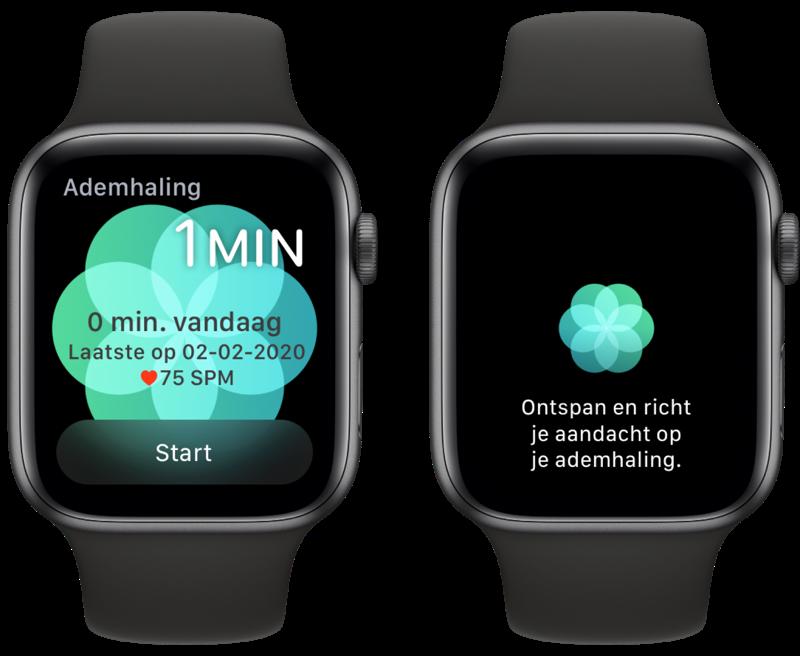 Ademhaling-app instellen op de Apple Watch.