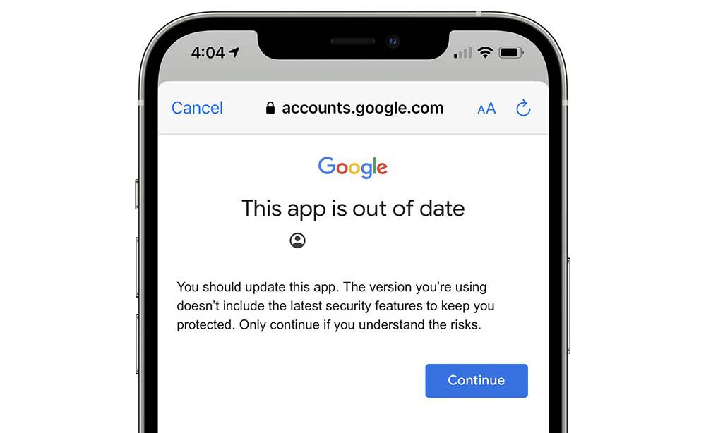 Google Gmail-app verouderd