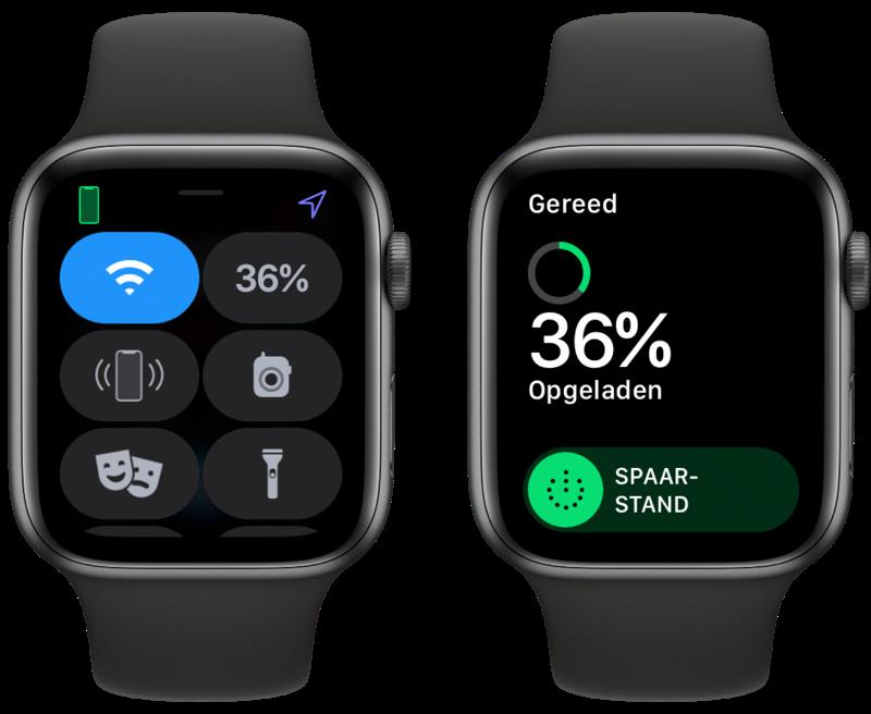 Apple Watch spaarstand activeren via Bedieningspaneel.