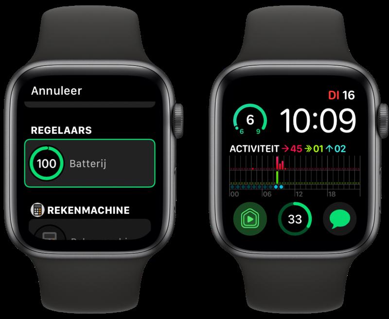Apple Watch Batterij-complicatie.