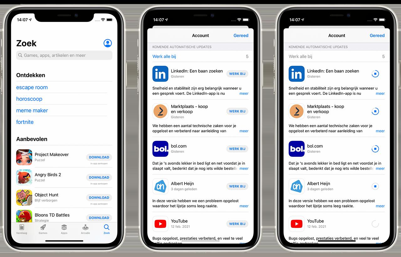 Apps updaten in iOS 14 en nieuwer