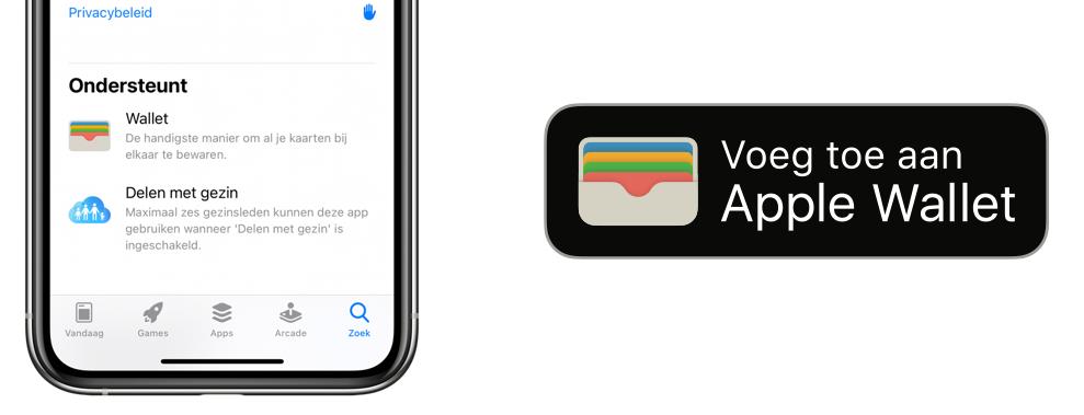 Voeg toe aan Apple Wallet-knop in apps en websites.