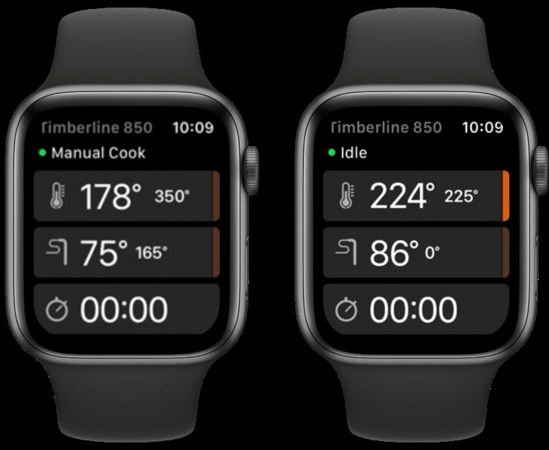 Traeger op Apple Watch screenshots.