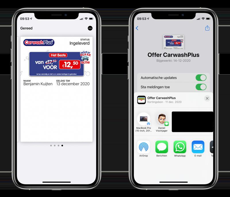Wallet-kaart delen via AirDrop en andere apps.