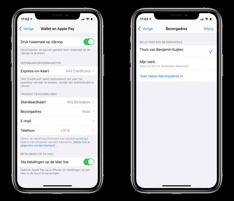 Apple Pay gegevens voor bezorgadres en meer.