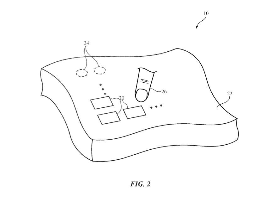 Patent van slimme knoppen in kleding van Apple.