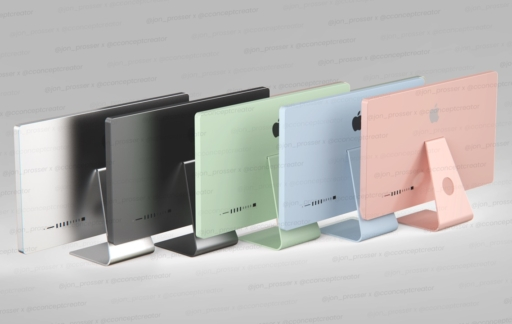 Concept van iMac 2021 in vijf kleuren.