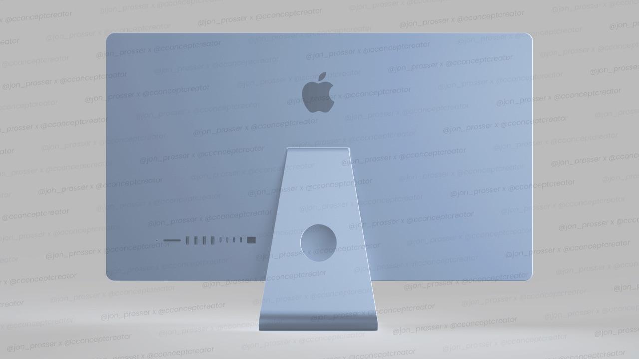 Concept van iMac 2021 in blauw.