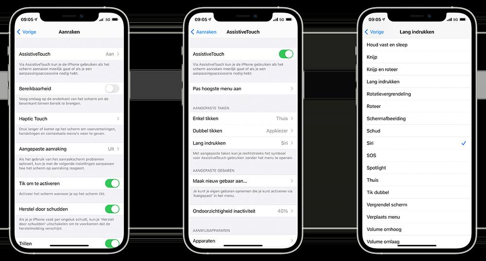 Virtuele thuisknop op iPhone