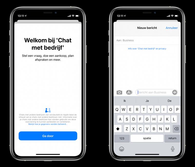 Business Chat in iMessage in Nederland via Chat met bedrijf.