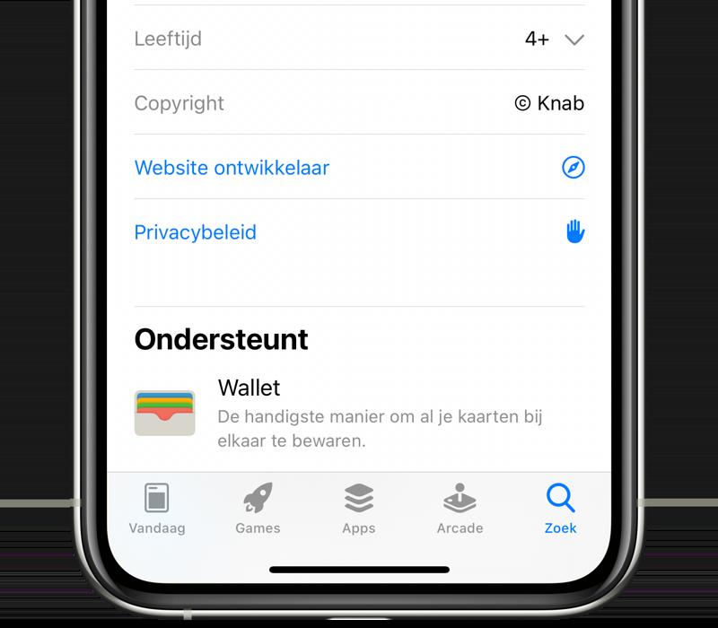 Knab-app met ondersteuning voor Wallet.
