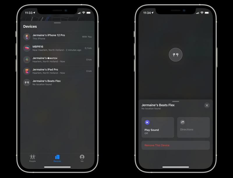 Beats Flex in Zoek mijn in iOS 14.5.