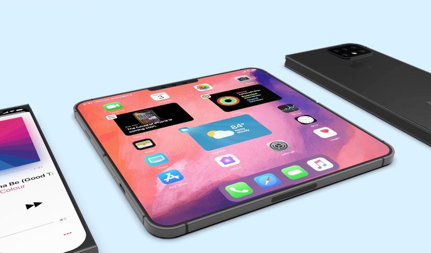 Concept van opengeklapte opvouwbare iPhone.