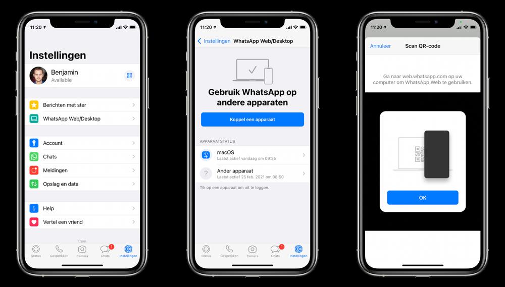 WhatsApp Desktop koppelen met iPhone.
