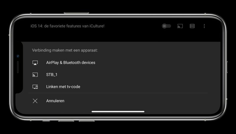 AirPlay starten in de YouTube-app.