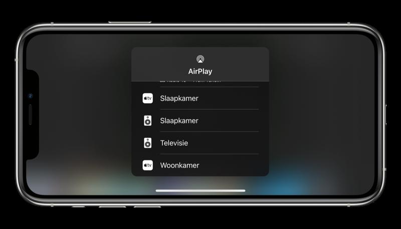 AirPlay video: apparaat kiezen om op af te spelen.