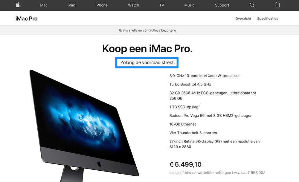 iMac Pro uitverkocht