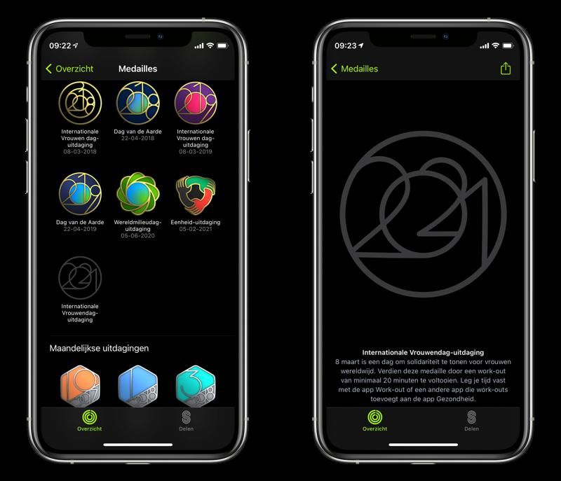 Apple Watch uitdaging: overzicht met medailles.
