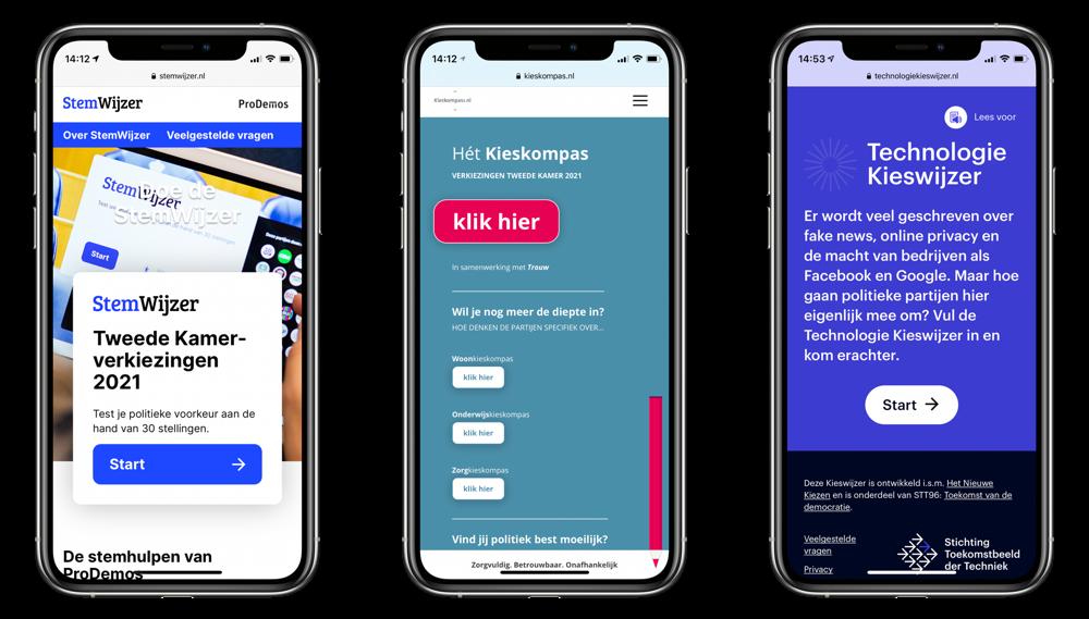 Stemwijzer apps en websites op de iPhone voor Tweede Kamerverkiezingen 2021.