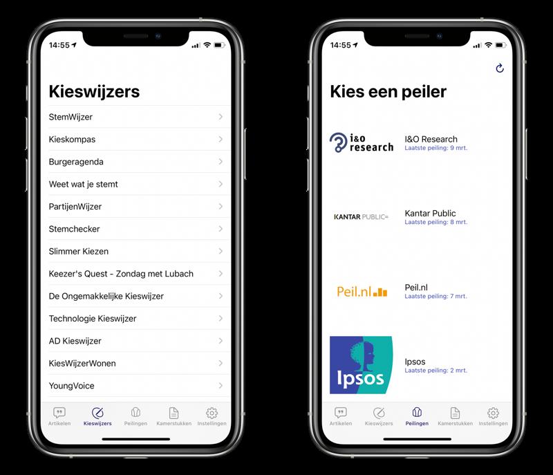 Politiek App met stemwijzers en peilingen.