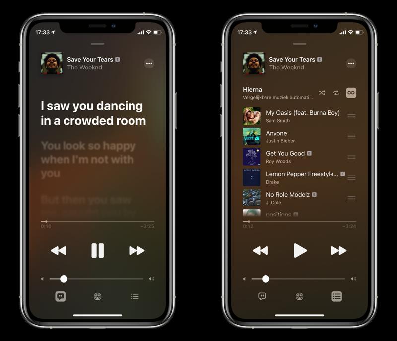 Apple Music app met huidige muziek.