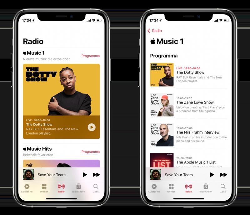Apple Music Muziek app met radio.