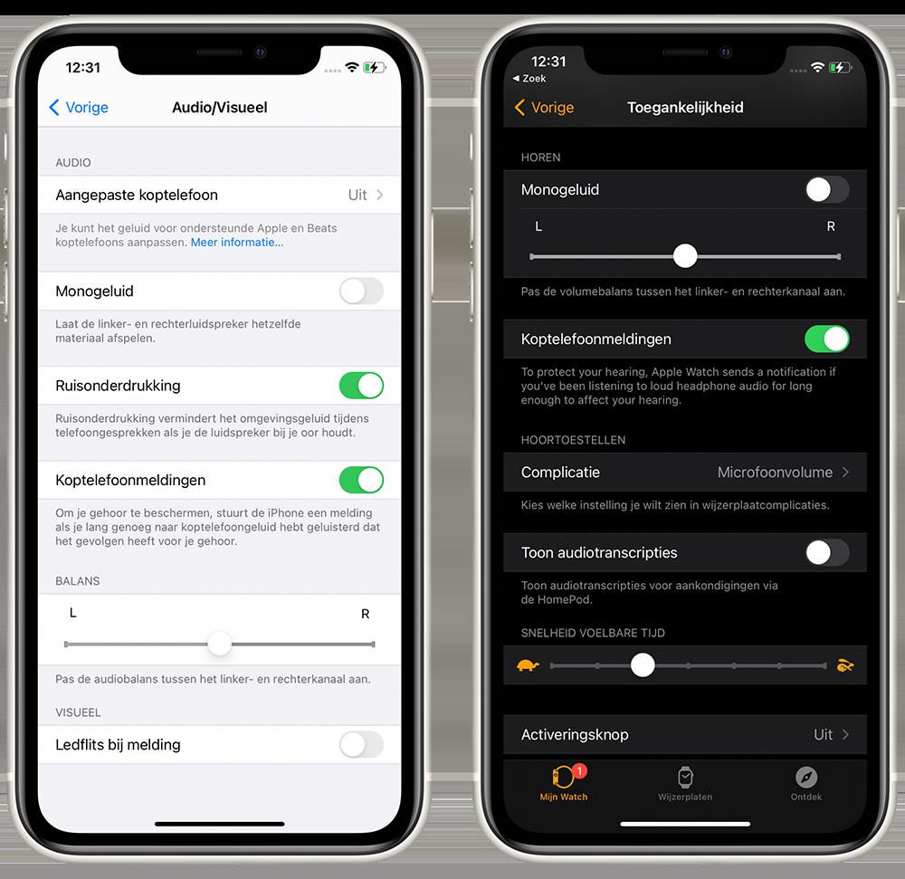 Audiobalans op iPhone en Apple Watch