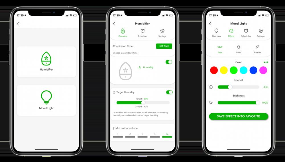 VOCOlinc-app voor luchtbevochtiger.