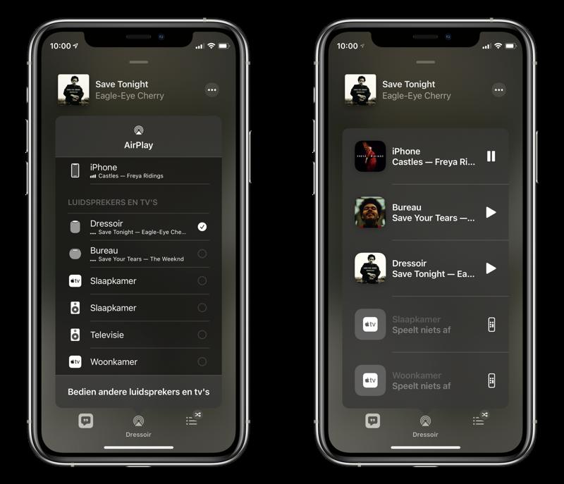 De audio van apparaten bedienen via de Muziek-app.