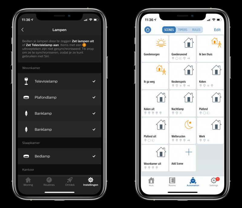 Hue- en Eve-app met HomeKit-apparaten en scènes.