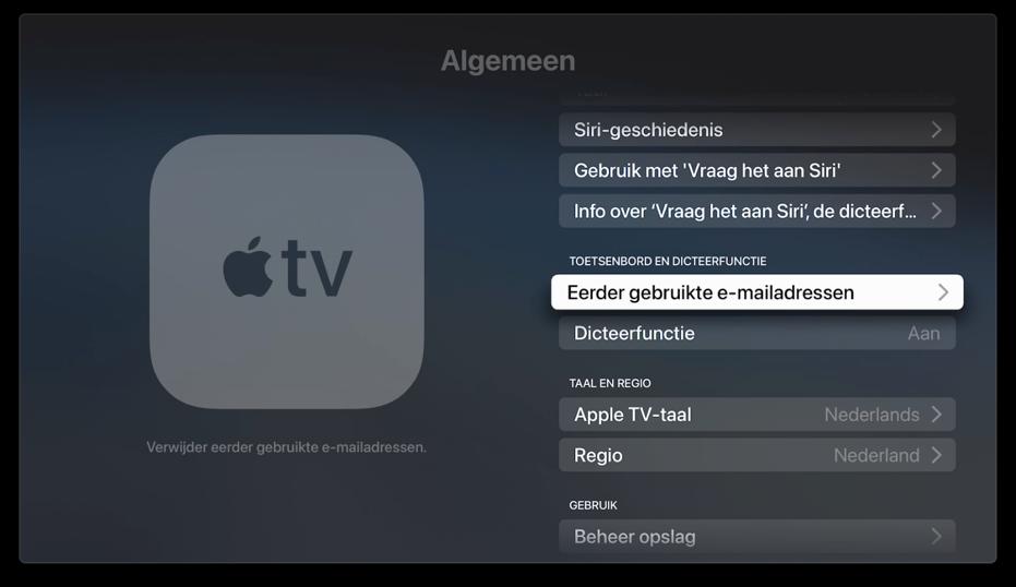 Apple TV: eerdere e-mailadressen wissen.