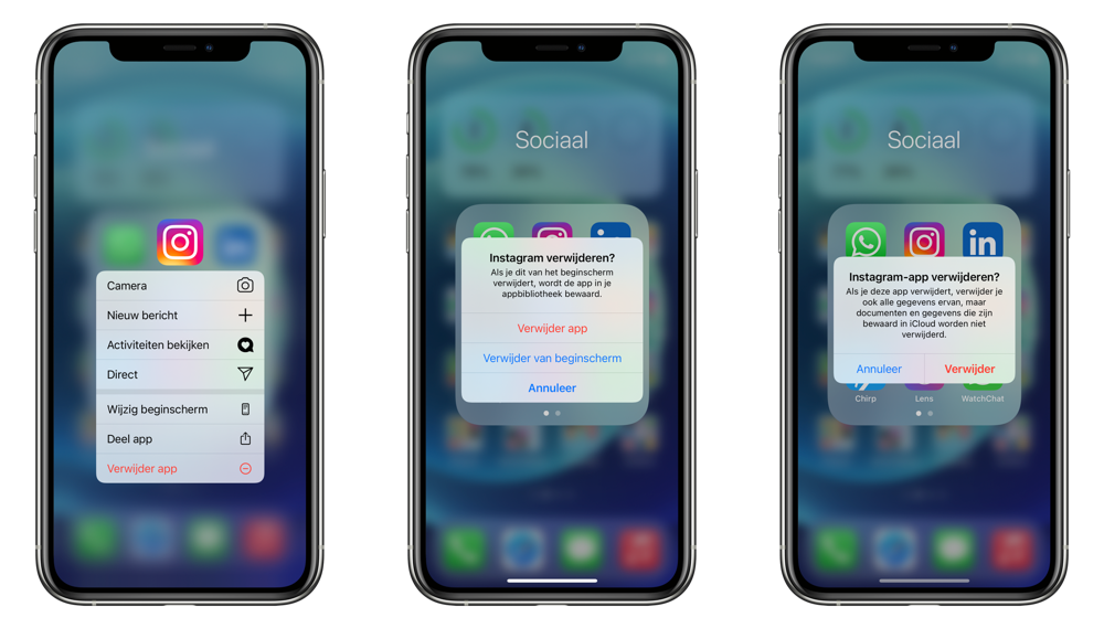 App verwijderen in iOS 14 of verplaatsen naar appbibliotheek.