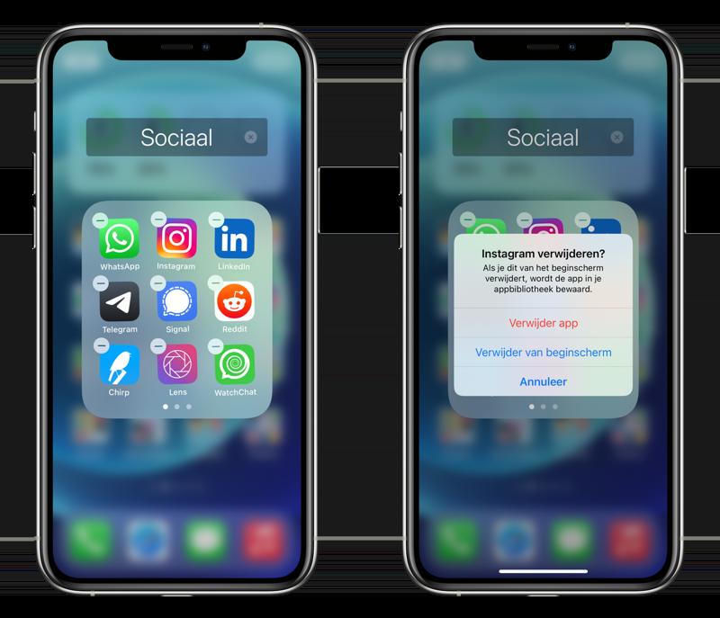 Apps verwijderen door te wiebelen.