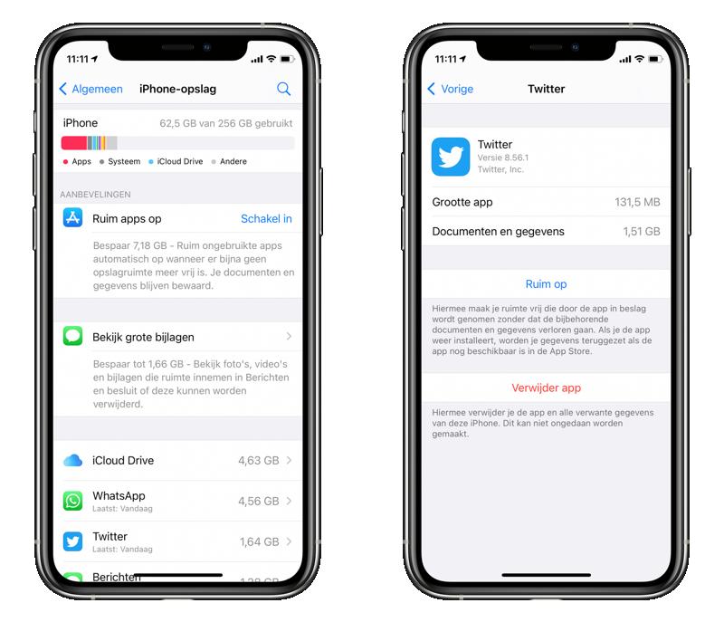 Apps verwijderen via instellingen en iPhone-opslag.